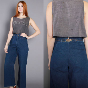 70s High Waist JEANS / 1970s LEVI'S Buckleback Wide Leg Bell Bottoms, xs