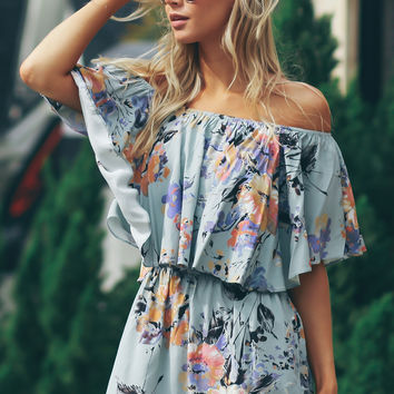 Off The Shoulder Print Romper Sage Combo