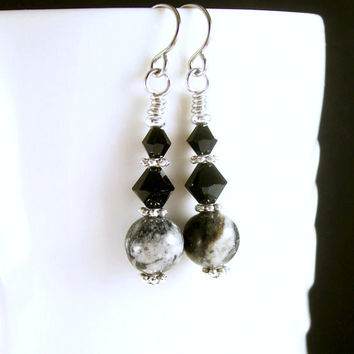 Gemstone Jewelry Jungle Jasper Earrings, Crystal Black Grey Silver Earrings, Everyday Rustic Earrings, Beaded Jewelry Earrings,Handmade