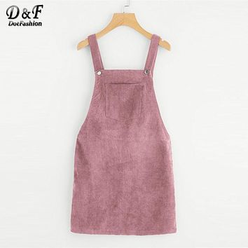 Dotfashion Bib Pocket Front Overall Short Dress 2017 Pink Zip Button Pinafore Shift Dress Female Sleeveless Plain Dress