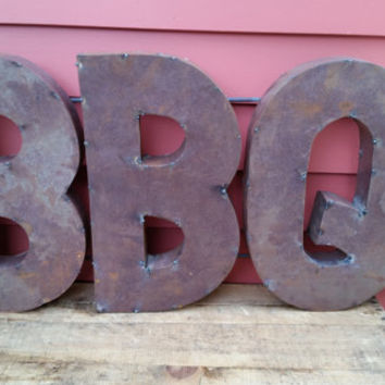 BBQ sign made from recycled tin metal rusty rus...