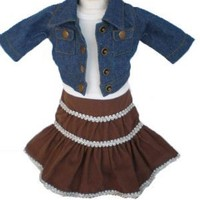 "Denim Jacket Peasant Skirt - 18 Inch Doll Clothes/clothing Fits American Girl and Other 18""dolls"