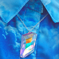 Swarovski AB Crystal Necklace / Rainbow Crystal Necklace / Iridescent Necklace / Holographic Necklace