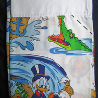 Vintage Disney DuckTales Bedding TWIN Size Flat Sheet Kids Bedding Boy Girl Bed Sheet Craft Fabric Clean USED 1986