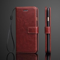 Vintage Luxury PU Leather Case For iphone 7 / 7 plus Flip Cover Wallet Fundas Coque Stand Function Soft TPU Phone Accessories