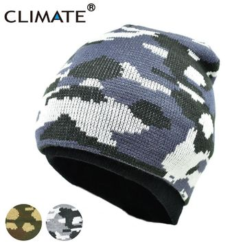 CLIMATE Camouflag Winter Warm Beanies Hat Unique Army Camo Color Soft Nice Knitted Hat Hunting Fishing Outdoor Sport Knitted Cap