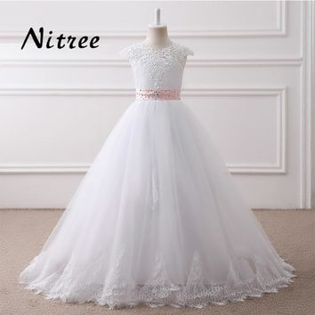 Pink Flower Girl Dresses 2017 Ball Gown Cap Sleeve Beading and Lace Girls Prom Gowns First Communion Dresses For Weddings Longo