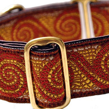 Martingale Collar: Burgundy Mosaic Crests (1.5 Inch), Dog Collar, Greyhound Collar, Custom Dog Collars, Greyhound Martingale