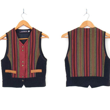 Sz S 90s Colorful Striped Women's Vest - Vintage Red Green Gold and Black Waistcoat