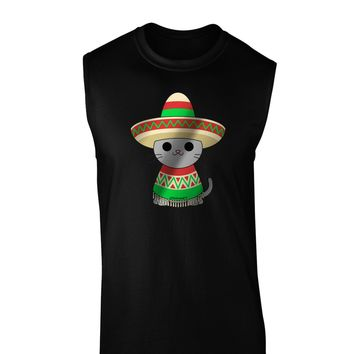 Sombrero and Poncho Cat - Metallic Dark Muscle Shirt  by TooLoud