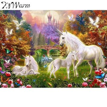 Newest Unicorns Painting Acrylic DIY Painting By Numbers Kit Hand Painted on Canvas Painting For Home Bedroom Decor No Frames