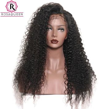 180% Density Full Lace Wig With Baby Hair Deep Wave Brazilian Pre Plucked Human Hair Wigs For Black Women Rosa Queen Remy