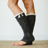Knitted Gray Leg Warmers Button Knit Lace Women's LegWarmers Cream Lace Trimmed LegWarmers Women's Fashion Boot Socks (LW-GRAY03)