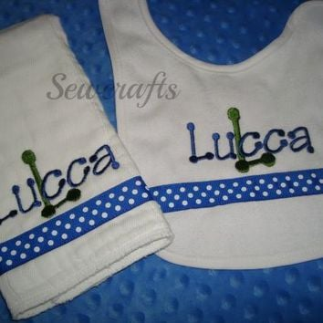 Lucca Personalized Bib and Burp Cloth with Chice of Name and/or up to 3 monograms