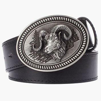 Male strap Animal style belt metal buckle belts ram head goat leather belt sheep sign gift for men wild western cowboy belt