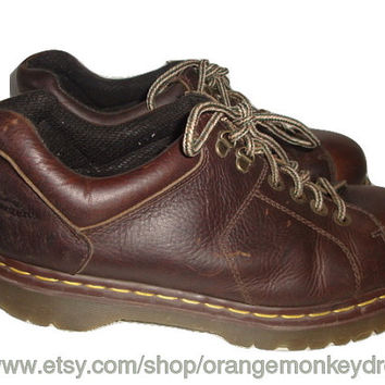 Vintage Doc Dr. Martens leather brown oxfords boots hipster indie men size 12 uk 13 us large
