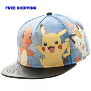 Nintendo Pokemon Printed All Over Faux Leather Snapback Cap Hat Pikachu Meowth