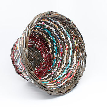 Handwoven basket, brown, multi color spiral, round, storage, recycled paper