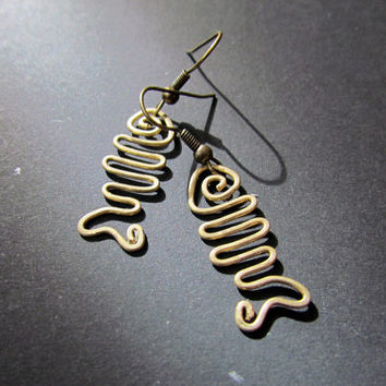 Little Fish, Wire Wrapped Brass Earrings