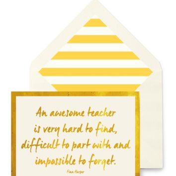 An Awesome Teacher Greeting Card, Single Folded Card or Boxed Set of 8