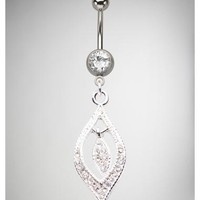 14 Gauge Clear Gem Teardrop Outline Banana Belly Button Ring