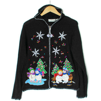 Crochet Snowmen & Dirty Balls Ugly Christmas Sweater Hoodie