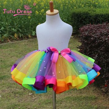 1PC New 2017 Girls Dress Baby Kids Girl Dress Tutu Dress Children With Diamond Rainbow Dresses