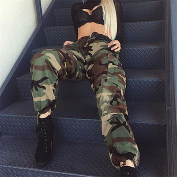Women Army Green Loose Baggy Trousers Fashion 2018 Camouflage Printed Joggers Sweatpants Pants Hip Hop Dance Pants Plus Size