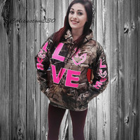 camo love country in hot pink hoodie