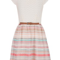 Chevron Stripe Lace Top Dress With Peek-A-Boo Back - Multi