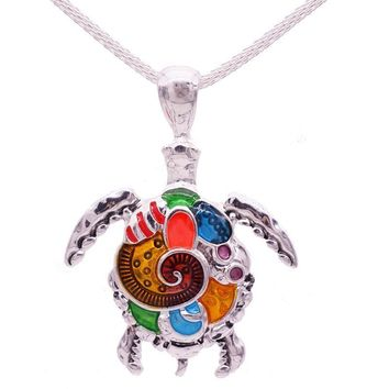 Women Fashion Enamel Turtle And Dragonfly Colorful Necklace