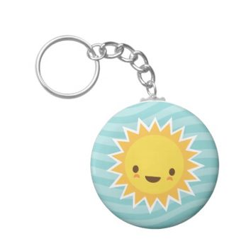 Cute kawaii sun cartoon character on blue basic round button keychain