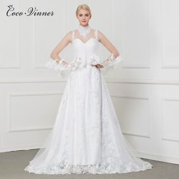 C.V Straps With Wrap Two Pieces Fashion A line Wedding Dress 2018 Embroidery Appliques Beading Court Train Bridal Gowns W0111