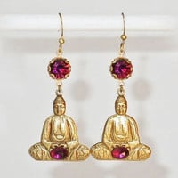 Vintage Brass Sitting Buddha with Amethsyt Purple Rhinestone Dangle Earrings