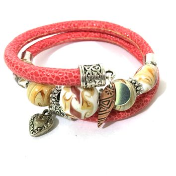 Leather and Glass Wrap Bracelet - Red, Glass and Antique Silver - Leather and Handmade Glass Beads - One Size Fits All - Wrappy Collection - Clay Space