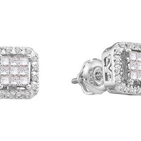 Round Princess Diamond Ladies Fashion Earrings in 14k White Gold 0.33 ctw