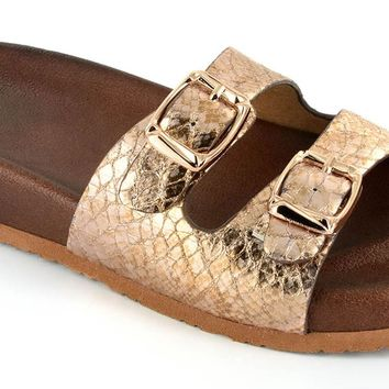 Corkys Silver Bell Slip On Sandals Gold Snake