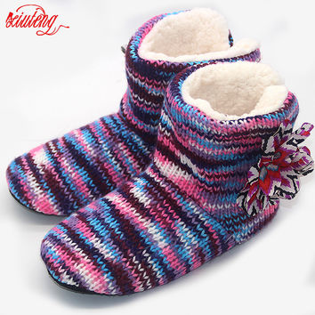 Hot 2017 Winter Warm Slippers Adult Men And Women Winter Household Slipper Soft Non-Slip Thicken Plush Home Indoor Floor Shoes