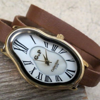 Women's Watch Inspired by Salvador Dali.Brown Strap White Face Gold Case