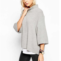 Gray High Collar Wool Sweater
