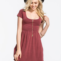 Full Tilt Cross Back Mineral Wash Dress Burgundy  In Sizes