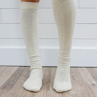 Fireside Over The Knee Socks - Cream