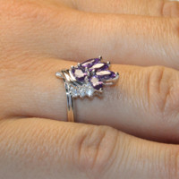 Purple Flower Ring on Hand 2 - Beautiful Promise Rings