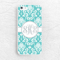 Tiffany blue Damask lace Monogram phone case for iPhone, Sony z3 compact, LG g3 g2 Nexus5, Moto X Moto G, custom case with personalized name