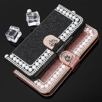 Luxury Pearl Leather Case For Samsung S8 S8 Plus S7 edge Case Bling Cover Stands Flip Phone Case For Samsung Galaxy S6 edge S5