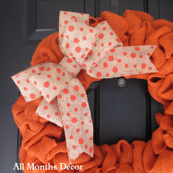 Polka Dot Burlap Bow, Various Color Choices, Orange, Wreath Bow, Wedding, Floral Bow, Spring, Easter, Year Round, DIY Projects, Multipurpose