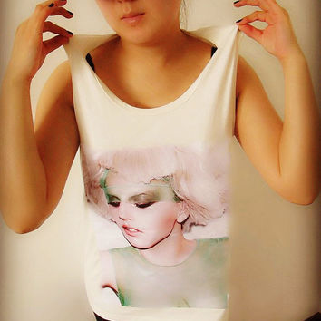 Lady Gaga Pattern Shirt Crop Top Tank Tops T-Shirt , Women Sexy Hipster Shirt , Custom Photo T-Shirt