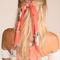 In Paris Coral Floral Scarf Ponytail Hair Tie