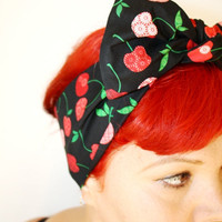 Bow hair tie, Black with Cherries, Retro, Rockabilly