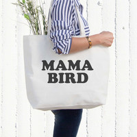 Mama Bird Canvas Bag Grocery Diaper Book Bags Gifts For Mom Mothers Day
